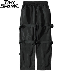 Image 4 - Pantalones Cargo de estilo Hip Hop para hombre, ropa de calle, Harajuku, cremallera trasera hebilla para el pantalón, cinta de Hip Hop, pantalón bombacho de estilo harén, bolsillos, Otoño, negro, 2019