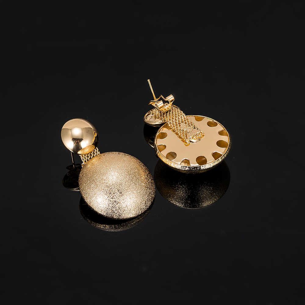 Высокое дубайское качество круглые золотые комплекты украшений для женщин винтажные свадебные золотые большое ожерелье хрустальные серьги золотые свадебные украшения