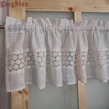 """Decorativo moderno para el hogar varilla bolsillo del armario del Gabinete de la puerta cortina 14x55 """"Color blanco malla delgada bordado cocina ventana cenefa"""