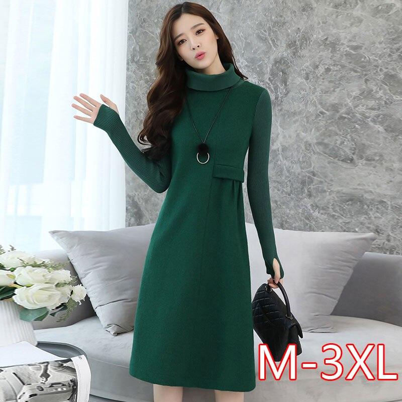 Vestido de lana para mujer, de punto, de manga larga, con
