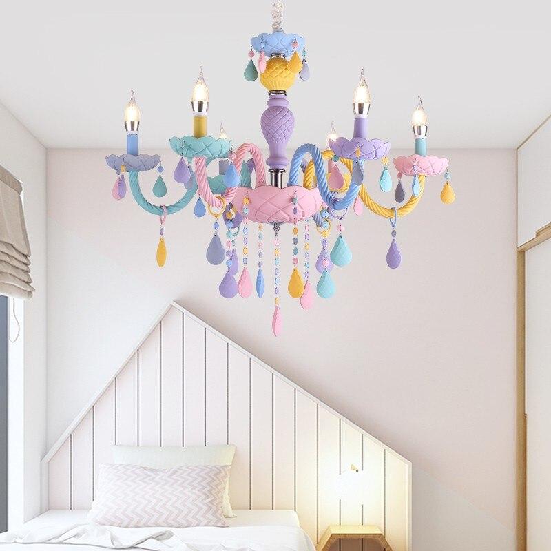 ใหม่โมเดิร์นห้องเด็กโคมไฟระย้าห้องนอนเด็กอนุบาลเจ้าหญิงแขวนโคมไฟภายในบ้าน Macaron สีสาว Room โค...