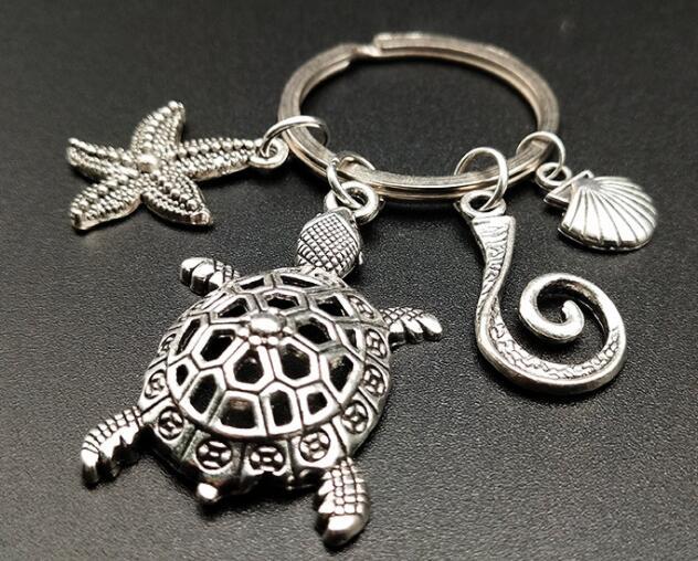 Retro Mini Decoration Lovely Little Turtle Keychain Paris Tour Key Chain Key Holder Key Ring Women Bag Charm Pendant Gift