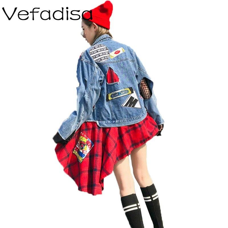Vefadisa bleu Jeans manteau pour femmes 2018 automne à manches longues asymétrique veste Patchwork Denim veste lâche Appliques manteau AD2072-in Vestes de base from Mode Femme et Accessoires    1