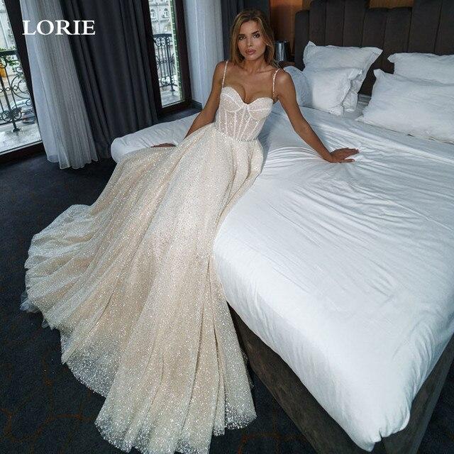 LORIE Shiny Sweetheart Princess Wedding Dresses Glitter Tulle Sexy Spaghetti Straps Boho Bride dresses Vestidos de novia 2021 1