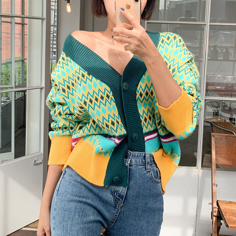 LLZACOOSH Fall Winter New Womans Sexy V-necked Button Cardigan Knitted Coat Long Sleeve Loose Women Clothes 2019
