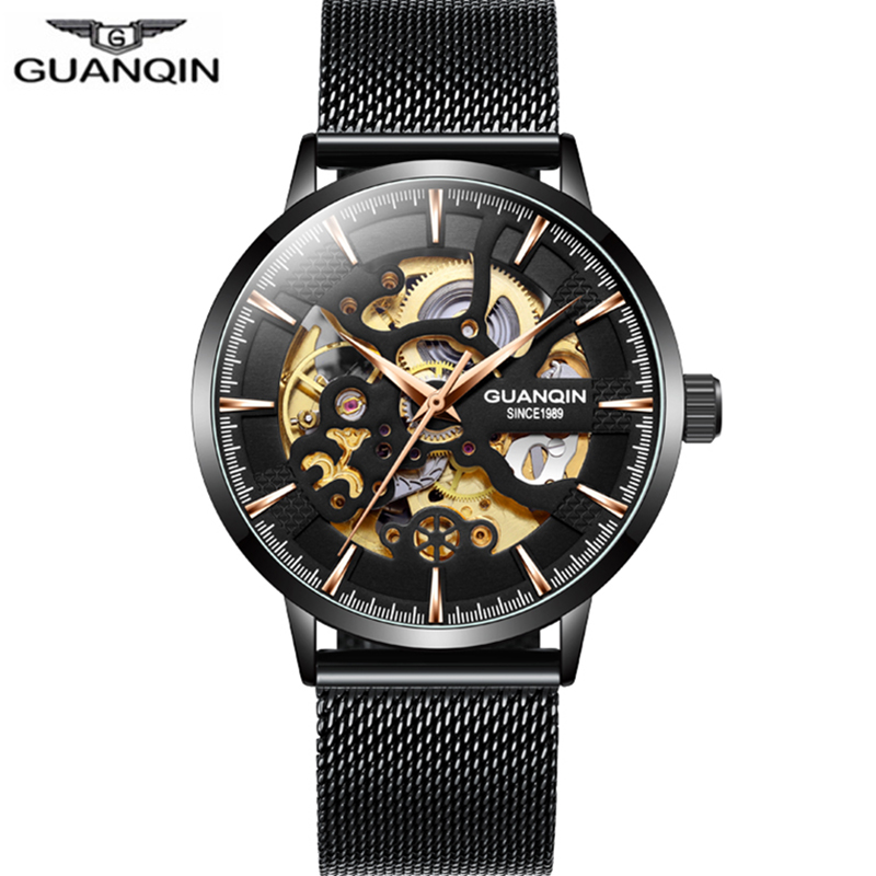 Guanqin Business Automatic Watch Men Mechanical Skeleton Movement Clock Luxury Top Brand Waterproof  Watch Relogio Masculino