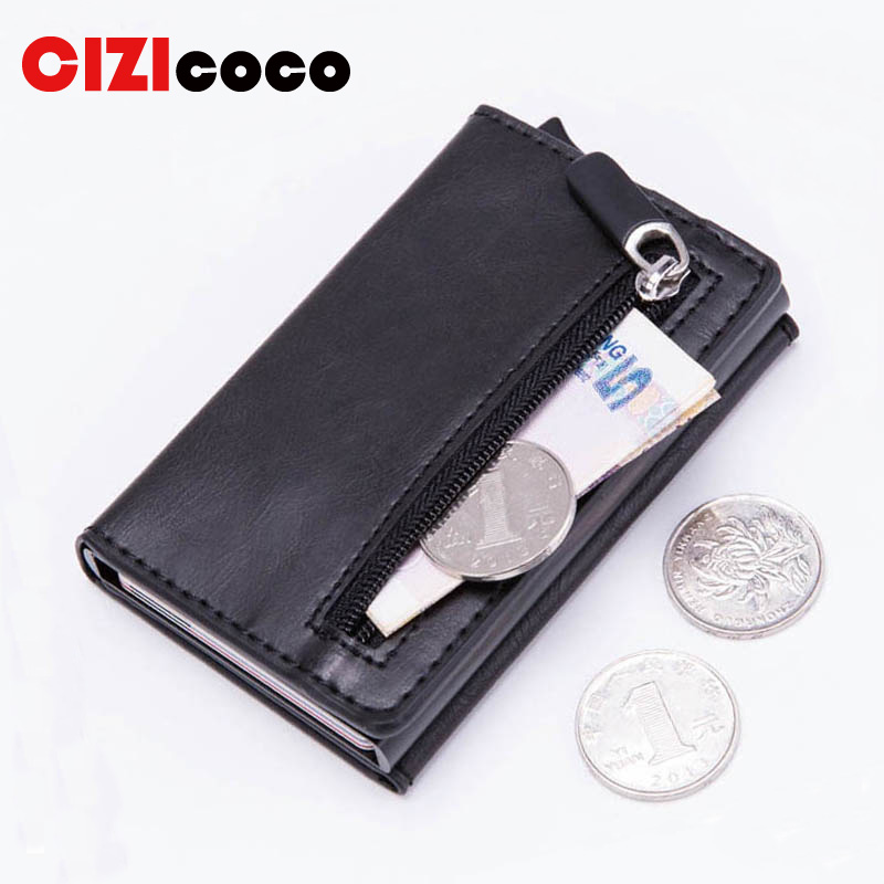 Card Wallet Purses Case Smart-Card-Holder Coin Rfid Blocking Magnetic Vintage New Casual title=