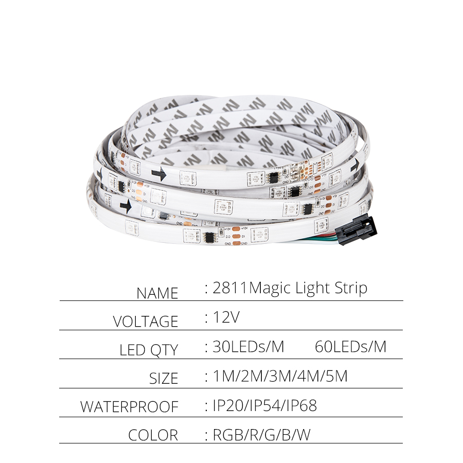 LED Strip 2811 IC RGB 5050 Led Flexible Light 300 Mode 12V Smart Strip Ribbon Tape LED Strip 2811 IC RGB 5050 Led Flexible Light 300 Mode 12V Smart Strip Ribbon Tape HDTV TV Desktop Screen Backlight Bias lights