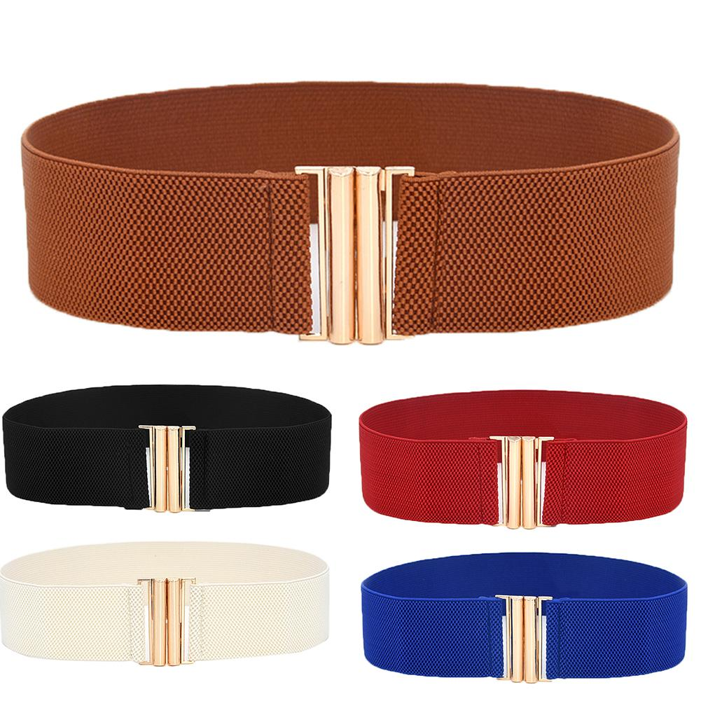 Hot Lady Solid Color Buckle Wide Faux Leather Elastic Waistband Belt For Jeans Pants