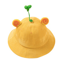 купить Baby Summer Outdoor Bucket Hat Kids Children Panama Cap Sun Beach Caps Lovely Cartoon Brim Baby Girl Sun Hat Corduroy yellow cap дешево