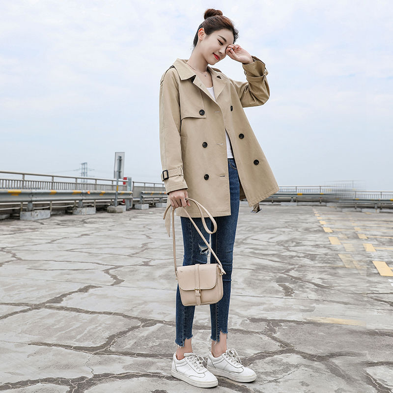 Ailegogo Spring Women Trench Coat Casual Streetwear Double Breasted Belt Female Coats Fashion Korean Loose Fit Outwear
