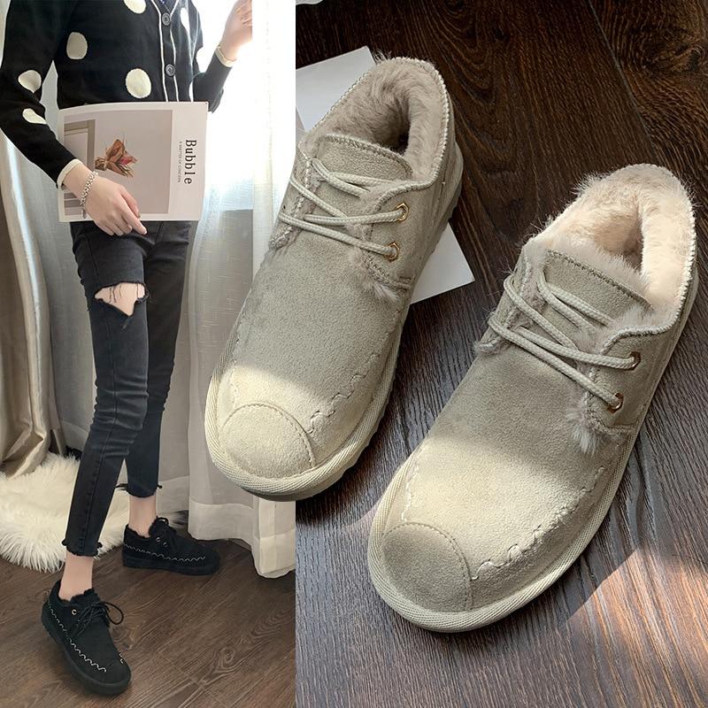 2019 New Snow Boots Female Short Tube Bread Cotton Shoes Women's Winter Plus Velvet Warm Fashion Casual Boots 46