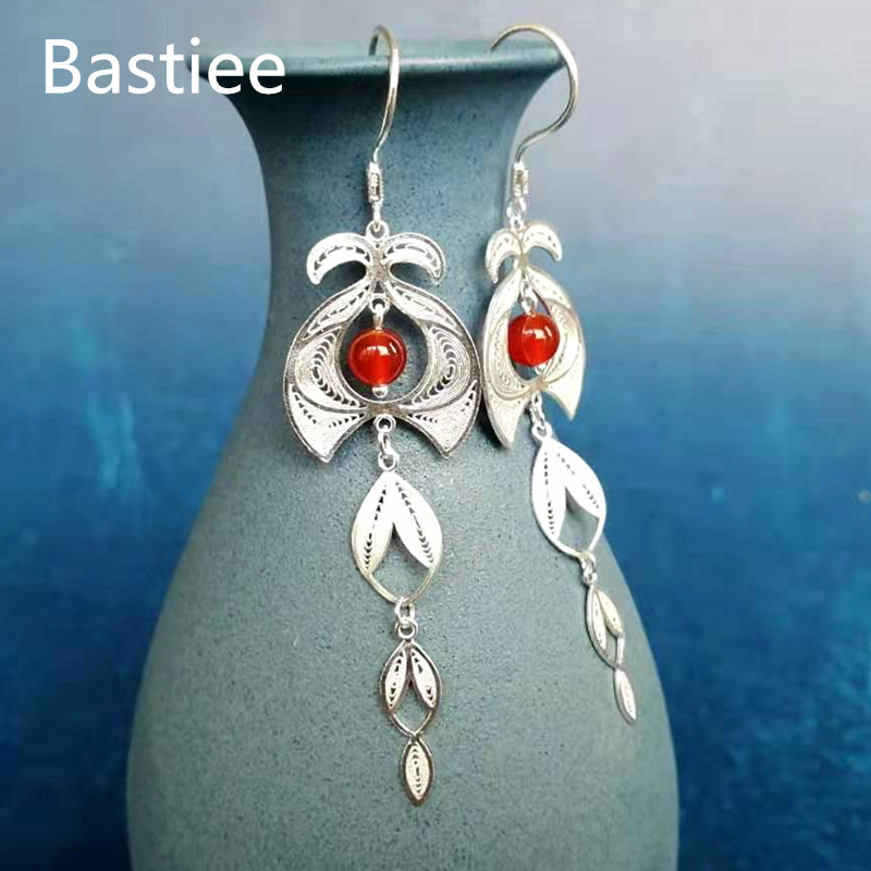 Bastiee citrouille perlée 999 en argent Sterling boucles d'oreilles pour les femmes de luxe bijoux Vintage à la main ethnique boucles d'oreilles Halloween kolczyki