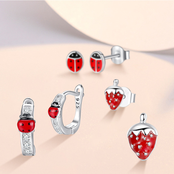 2020 Fashion Jewelry Christmas Stud Earrings Animal Ladybug Clover Heart 925 Sterling Silver Small Earrings for Women Kids Girls