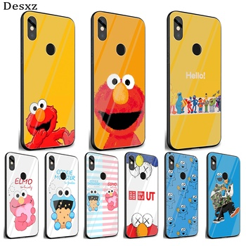 Mobile Phone Glass Case For Xiaomi Note 5 6 7 Pro F1 A1 A2 4X 5X 6X 9 Cover TPU Cartoon Cookies Monsters Elmo Shell