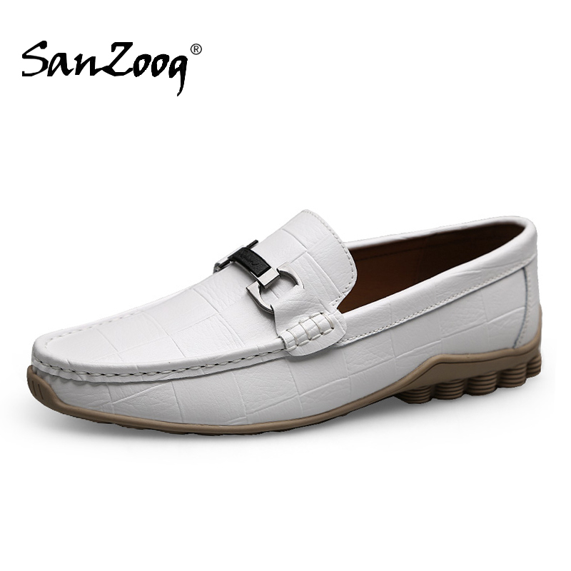 Sanzoog Leather Slip On Mens Loafers Autumn Lofer Man Casual Shoes Men Loafer Moccasins Fashion Mocasines White Trend 2020