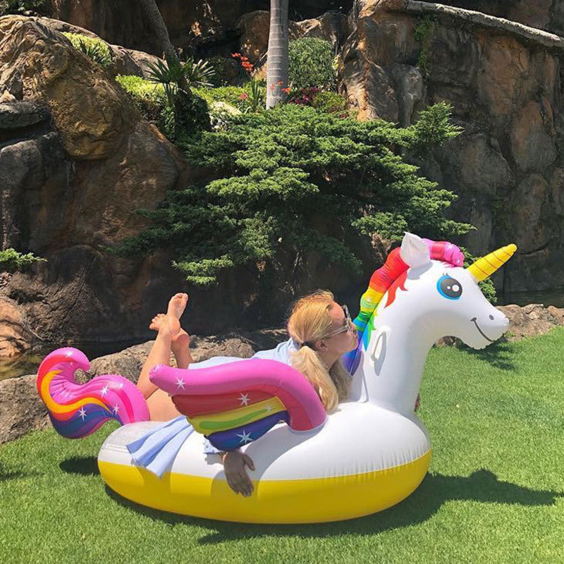 2M Inflatable Rainbow Pegasus Unicorn Gaint Pool Float Mattress Sunbathe Mat Air Swimming Ring Circle Beach Sea Water Party Toys