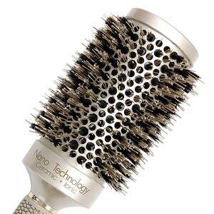 Image 5 - Mythus מקצועי ננו טכנולוגיה קרמיקה יונית שיער עגול מברשת חזיר זיפי חום עמיד שיער קרלינג מברשות