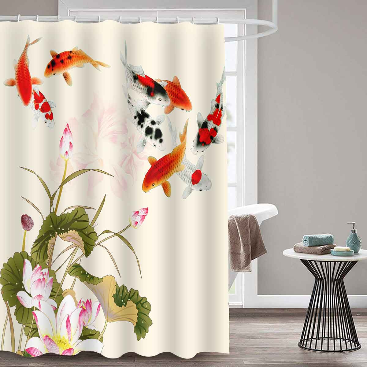 MTMETY Ocean Jellyfish Shower Curtain Polyester Waterproof Curtains Bathroom Chinese style koi Bath Screens rideau de douche