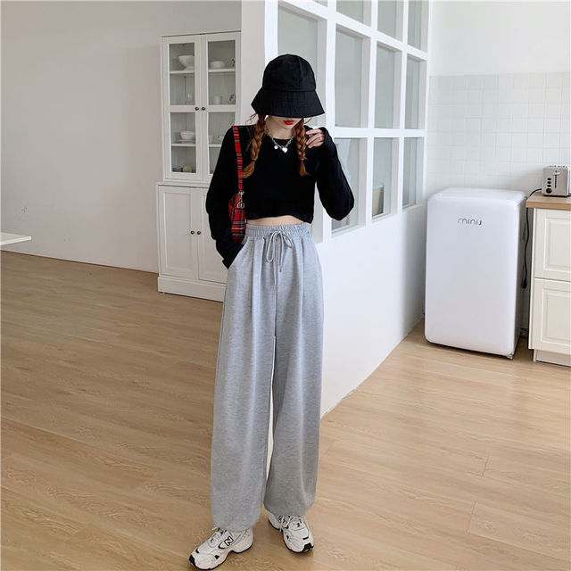 Gray Sweatpants for Women 2021 Autumn New Baggy Fashion Oversize Women Sports Pants Balck Trousers Joggers Streetwear 2