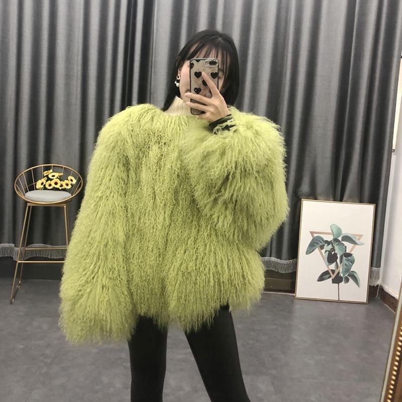 Women Real Mongolian Sheep Fur Coat Ladies Leather Short Style Beach Wool Fur Jacket Female Outerwear