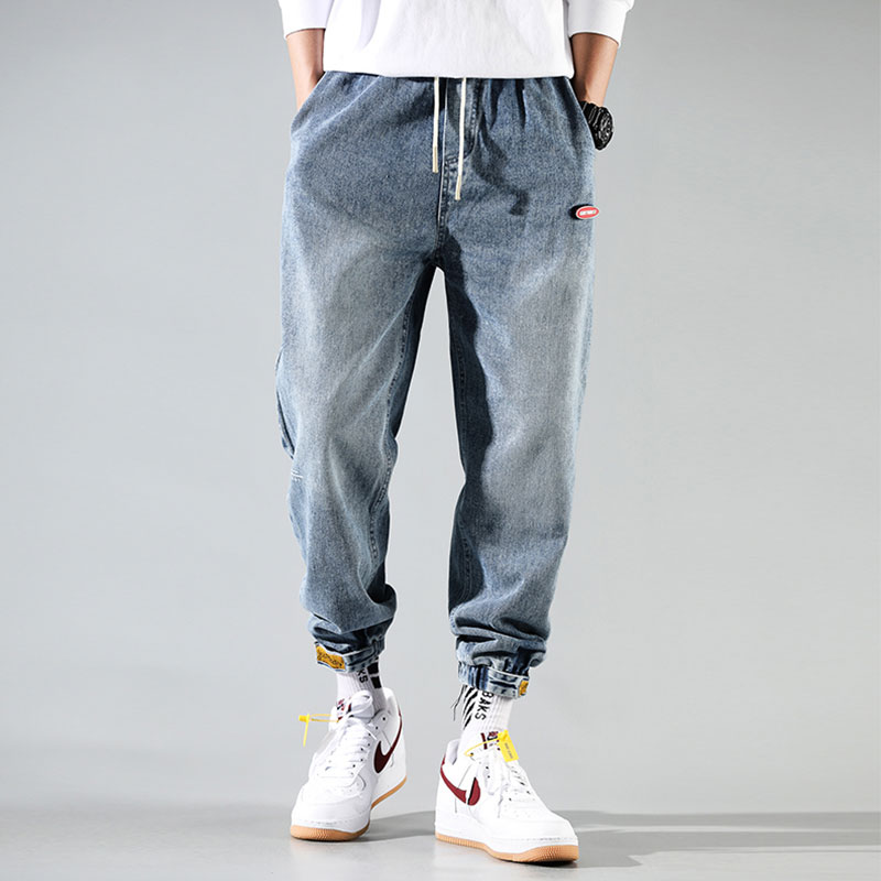 Korean Style Fashion Men Jeans Retro Blue Loose Fit Elastic Waist Harem Jeans Cargo Pants Streetwear Hip Hop Jeans Men Joggers