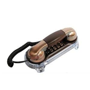 Image 1 - Античный Телефон проводной элегантный телефон Ретро тримлайн телефоны Стационарный с металлическими кнопками синий фонарик для входящих звонков