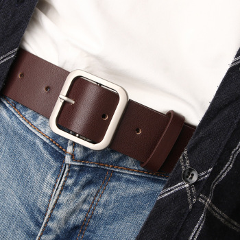 High quality Women Pu Leather Belts Simple Metal Square Buckle Female Waist Strap Fashion Casual Ladies Trousers Jeans Waistband