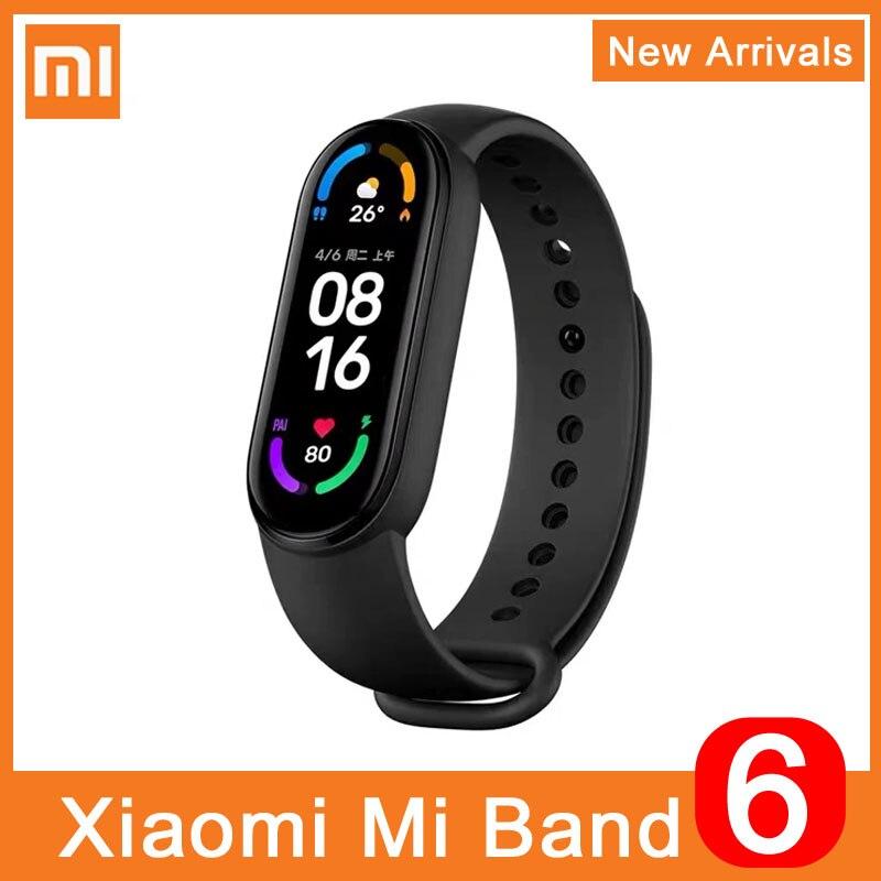 Смарт-браслет Xiaomi Mi Band 6, фитнес-трекер с поддержкой Bluetooth, с датчиком насыщения крови кислородом, водонепроницаемый смарт-браслет