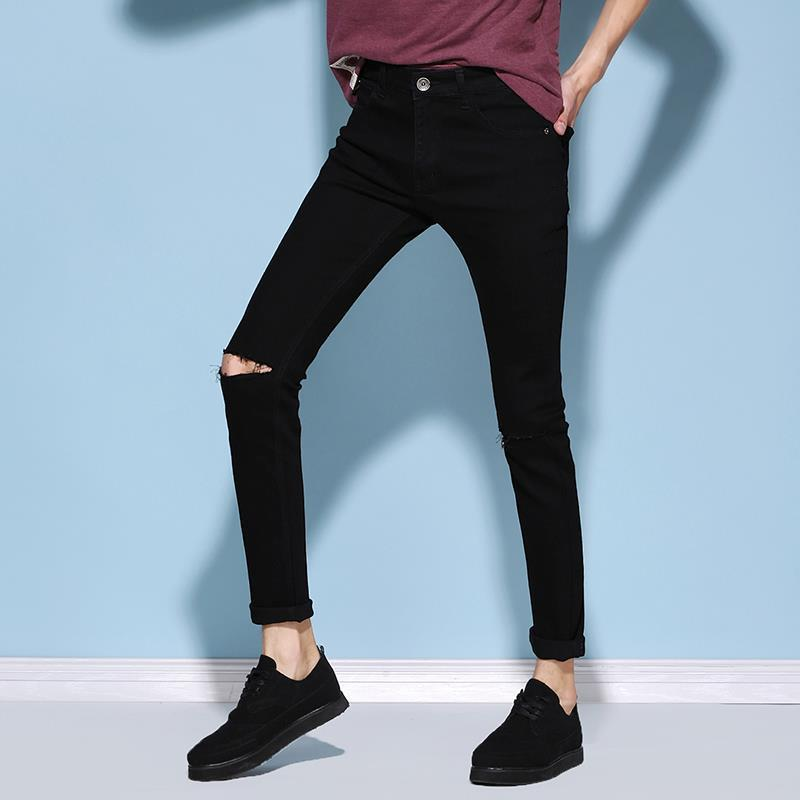 2019 New Style Spring Korean-style MEN'S Jeans Wash And Wear Treatment Fashion Handsome Elasticity Cut Does Not Fade Pants