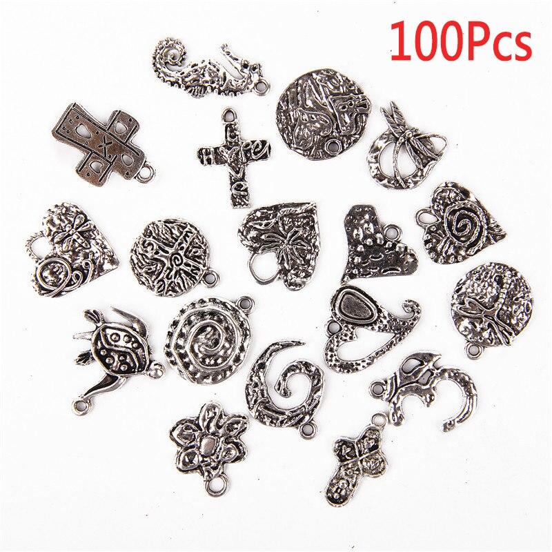 Wholesale 100 pcs Bulk Lot Tibetan Silver Mix Pendants Charms For Bracelet DIY
