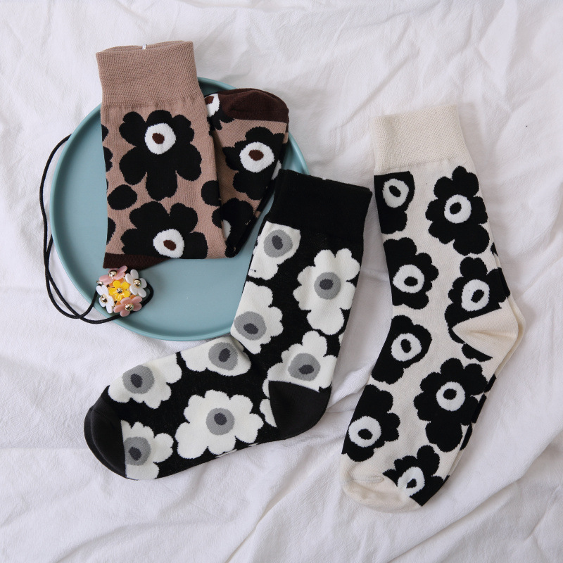 Women Floral Short Sport Socks Soft Breathable Art Cotton Socks Harajuku Japanese Midi-Tube Sokken High Quality Skarpetki Mujer