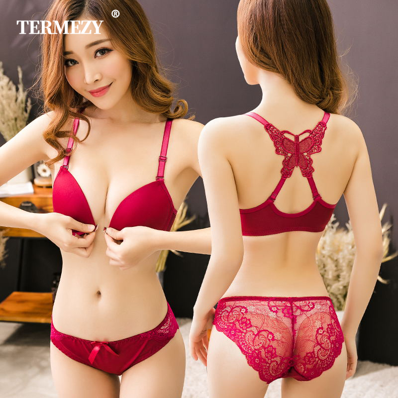 TERMEZY Sexy Backless Bra And Panty Set Lace Front Closure Push Up Underwear Briefs Women Lingerie Sets Black Brassiere