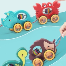 Baby Cartoon Animal Car Pull Rope Toys Drag Vehicles Rattles Educational Gifts H05C