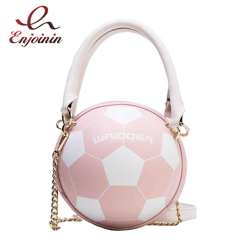 Fun Fashion Football Design Round Women Purses And Handbags Crossbody Bag Female Shoulder Bag New Leather Tote Bag Chain Bag