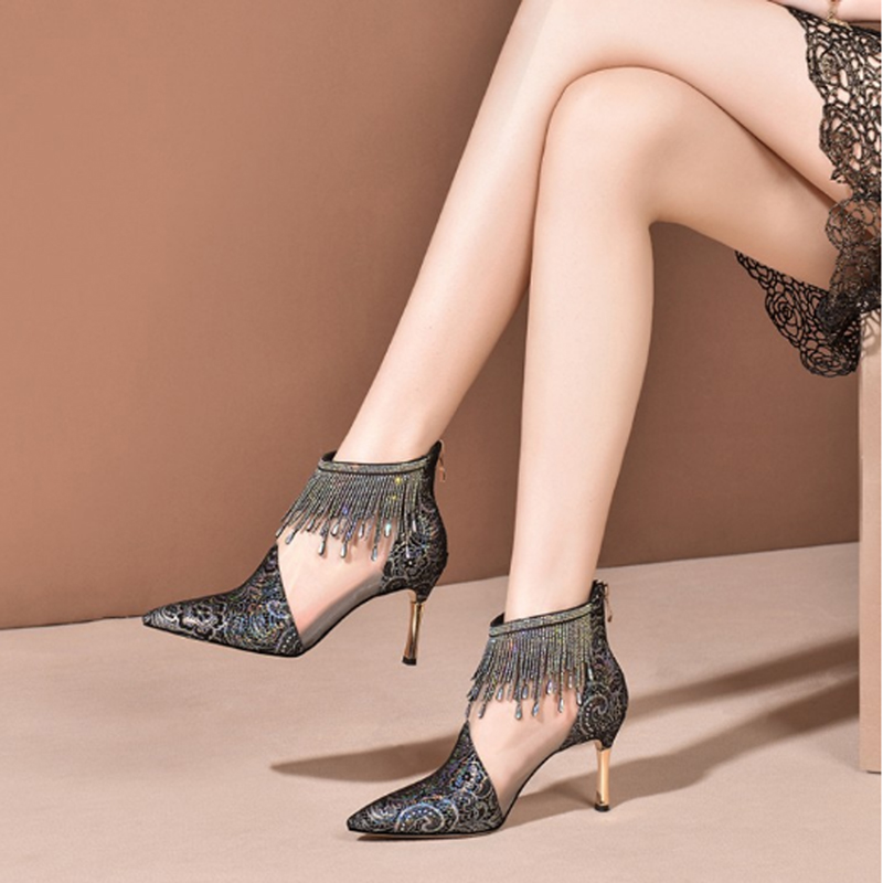 Water drill tassel cool boots women's high heel new pointy thin heel net boots women's single boots sexy hollow out sandals 8cm