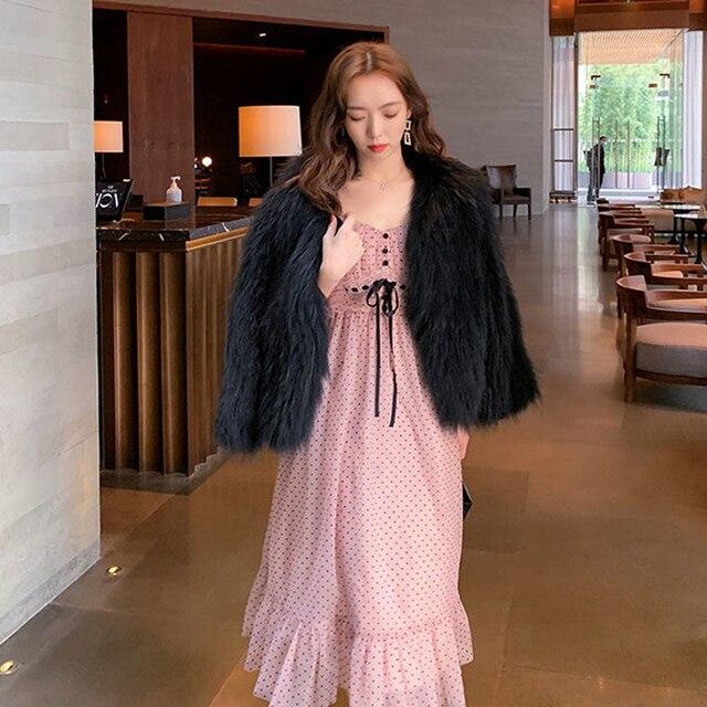 French Vintage Midi Dress Women Puffer Sleeve Square Collor Office Elegant Dress Female 2021 Spring Dot One Piece Dress Korean 6