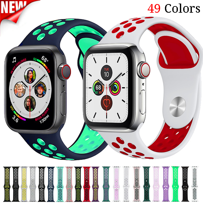 Sport Strap For Apple Watch Band Correa Iwatch Band 42mm 44mm 38mm 40mm Silicone Watchband Bracelet Apple Watch 5 4 3 2 1 42 44