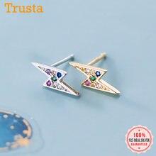 Trusta-pendientes de tuerca de circonia cúbica para mujer, joyería de plata de ley 925 a la moda, aretes pequeños de colores, joyería 925 DA893
