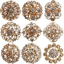 Chapado en oro Meta y cristales de imitación flor broches pines para boda ramo broche Pin para bolsos de fiesta nupcial ropa en caja de regalo