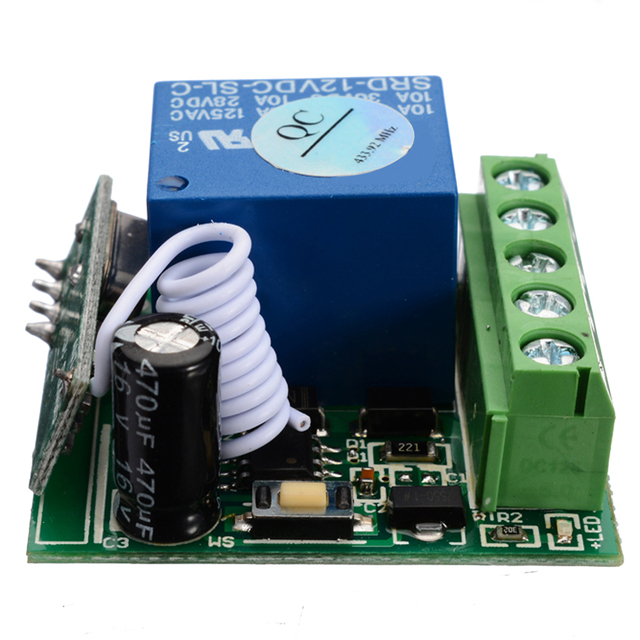 DC12V 10A bricolage sans fil relais télécommande commutateurs Module 1 canal récepteur sans fil relais RF 433MHz télécommande commutateur