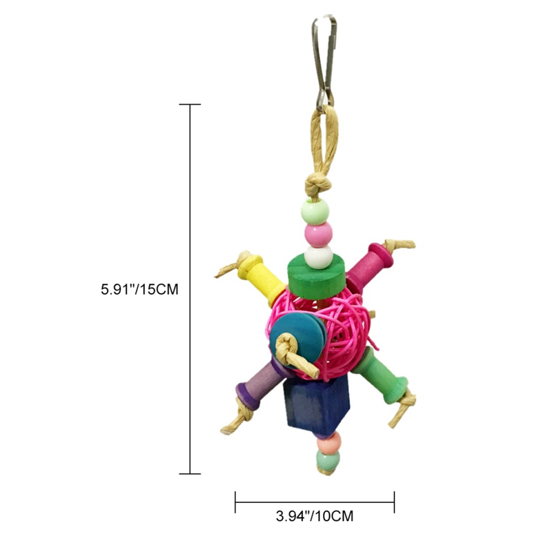 Pet Colorful Hanging Toys for Cage Parrot Rattan Ball Chew Toys for Solving <font><b>Boredom</b></font> image
