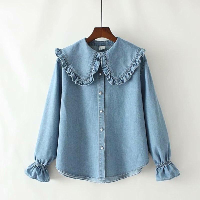 Женская блузка и топы, новый стиль осени 2020, джинсовая рубашка с гофрированным воротником Питера Пэна, женские милые корейские рубашки с дли...