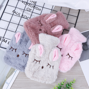 Winter Warm Heat Reusable Hand Warmer Cute PVC Stress Pain Relief Therapy Hot Water Bottle Bag with Knitted Soft Cozy Cover