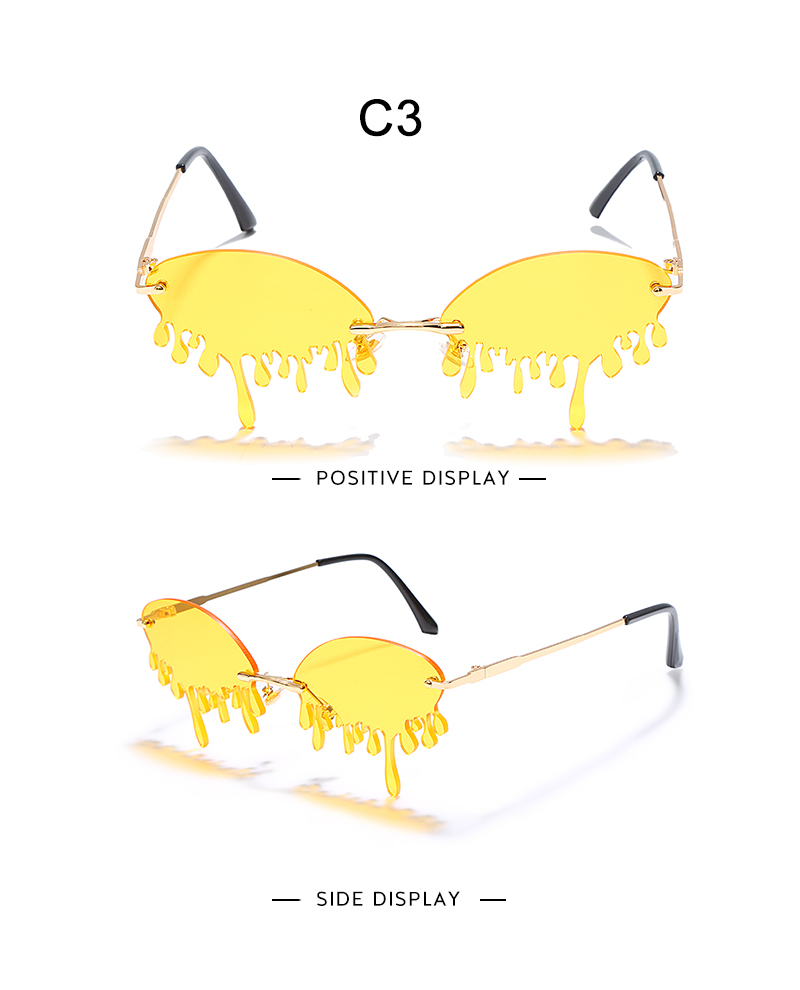Fashion Rimless Sunglasses Women New Vintage Unique Tears Shape Steampunk Sunglasses Female Gafas Shades UV400 Oculos Feminino