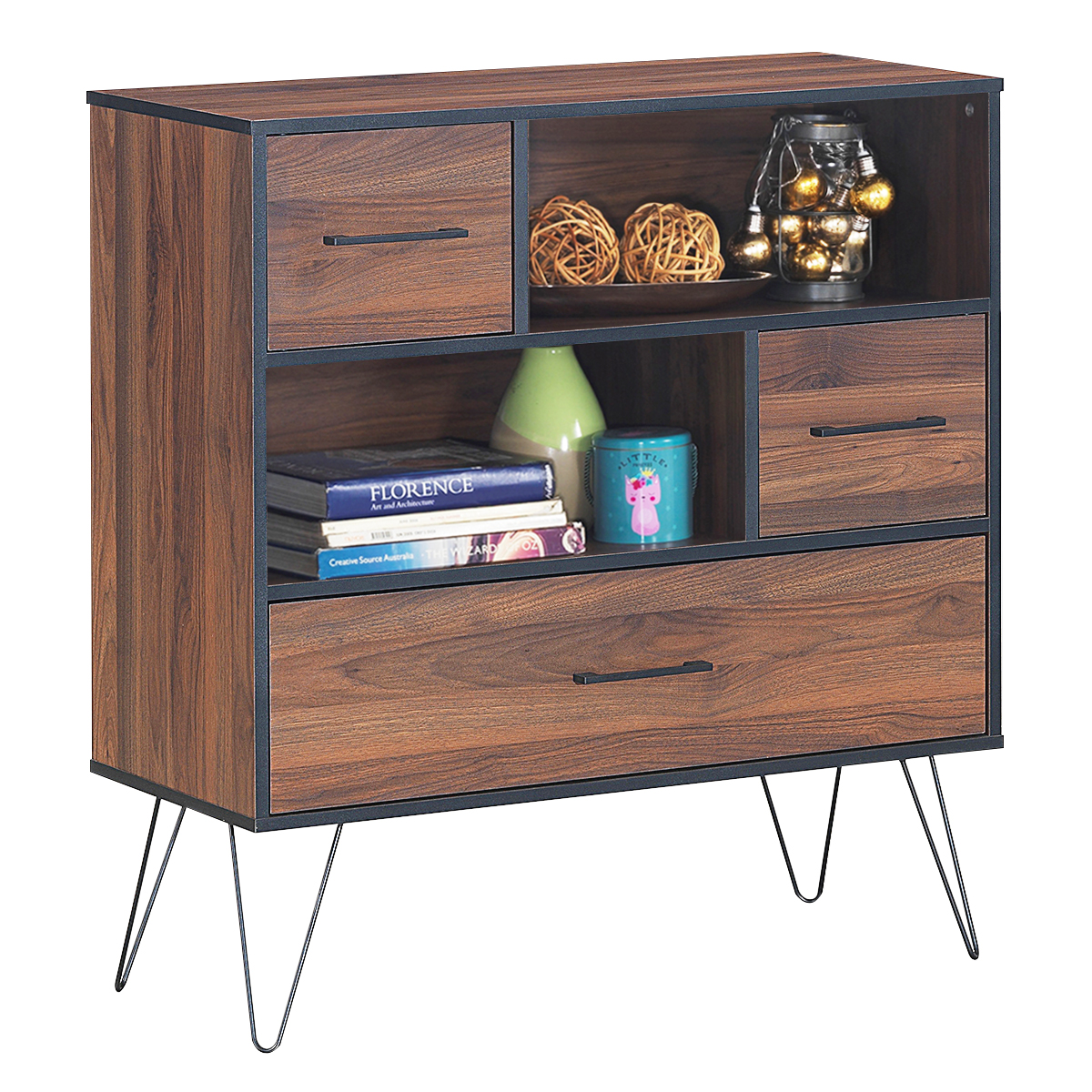 Costway Sideboard Storage Cabinet Multipurpose Display Unit w/Metal Leg & Drawers Walnut
