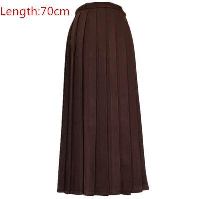 Японская школьная форма для девочек, регулируемая однотонная плиссированная юбка, 90 см, Jk, черный, темно-синий цвет, для старшеклассников, для студентов, в школьном стиле - Цвет: brown skirt 70cm