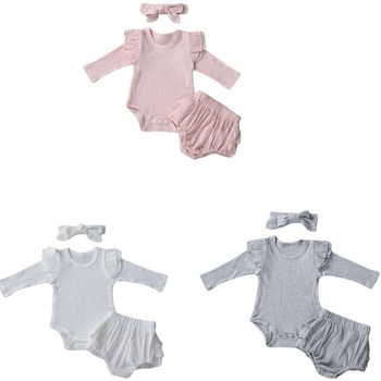 Kids Ruffle Shorts Suit Crotch Buttons Round Neck Long Sleeve Top Bowknot Headband 3pcs/set  For Baby 0-24M