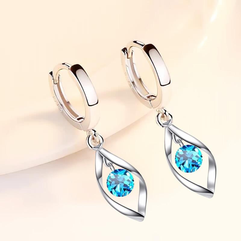 Dainty Female Aqua Blur Crystal Hoop Earrings Charm Silver Color Wedding Earrings Trendy Round Zircon Stone Earrings For Women