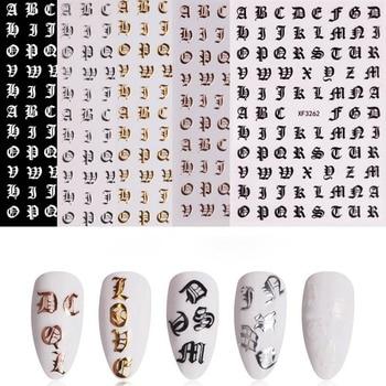 Juego de 5 pegatinas para uñas, gran oferta, letras doradas y plateadas,...